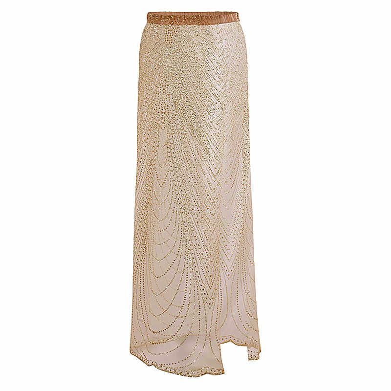 c4b1b1231a 2018 Summer Sexy Beachwear Women Boho Long Transparent Skirt Gold Silver Maxi  Sequin Skirt Loose Sexy