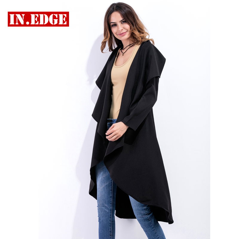 Autumn Woman Asymmetric Open Stitch Long   Trench   Coat Waterproof Raincoat Female Slim Casual Outerwear Black Elastic Classic 2XL