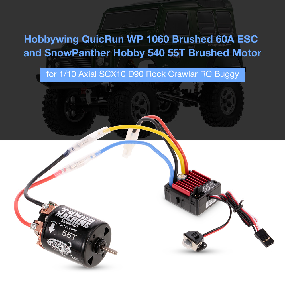 RC Car Motor WP 1060 Brushed 60A ESC 2-3S 6V/3A BEC 540 55T Brushed Motor for 1:10 Axial SCX10 D90 Rock Crawlar RC Buggy new 7 2v 16v 320a high voltage esc brushed speed controller rc car truck buggy boat hot selling