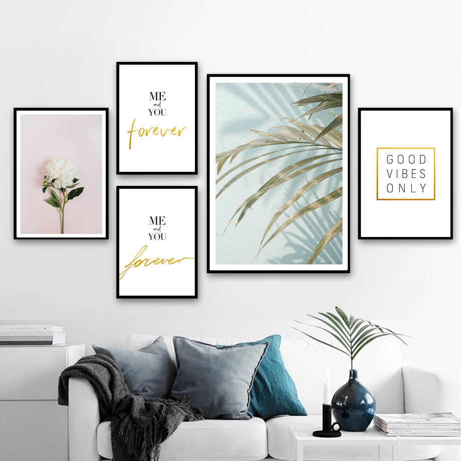 White Flower Palm Leaf Quotes Landscape Wall Art Canvas Painting Nordic Posters And Prints Wall Pictures For Living Room Decor
