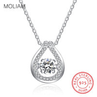 MOLIAM Solid 925 Sterling Silver Women Necklace New Shining Cubic Zirconia Design Ladies Pendant Necklaces Jewelry