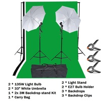Lightdow Photography Lighting Kit Photo Studio Kit With Backdrop Stand Light Stand Light Bulb Soft Umbrella