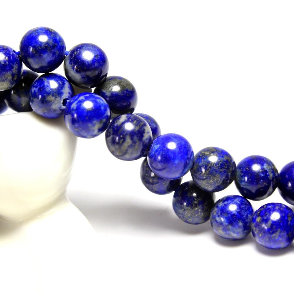 Nova AAA + Rodada Lapis Lazuli Naturais Contas de Pedra Para Fazer Jóias Pulseira DIY Material de Pedra 4/6/ 8/10/12mm Vertente 15.5''