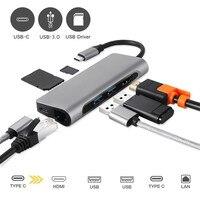 USB C Aluminum 4K USB C Hub HDMI Type C Hub 3.0 Splitter Adapter TF Micro SD Card Reader for imac for Macbook pro 2015 2016