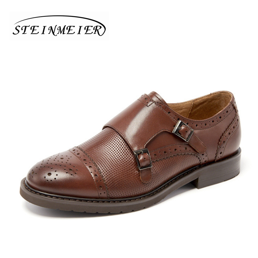 Women buckle brogues oxford shoes for women casual Moccasin Slip On brown Flats Casual brogue Handmade Oxford shoes oxford borboniqua oxford