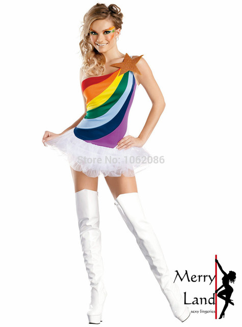 Sexy Rainbow Costumes Star Bright Adult Womens Costume M2551  sc 1 st  AliExpress.com & Sexy Rainbow Costumes Star Bright Adult Womens Costume M2551-in Sexy ...
