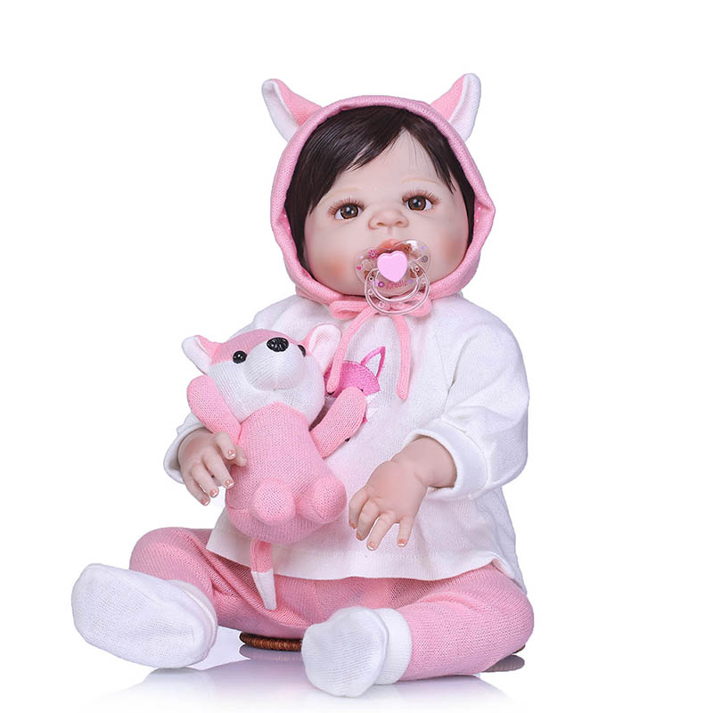 56CM Reborn Doll Toy Full Body Silicone 3D Lifelike Jointed Newborn Doll Gift Playmate FJ88 56cm baby reborn doll full body silicone 3d lifelike jointed newborn doll playmate gift bm88