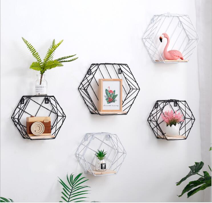 quality design d7fd5 74709 US $15.2 6% OFF|Hexagon Shape small Size Metal Wall Rack Iron Flower Vase  Holder Multi use Metal Wall Sundries Holder Wall Shelf Storage Basket-in ...