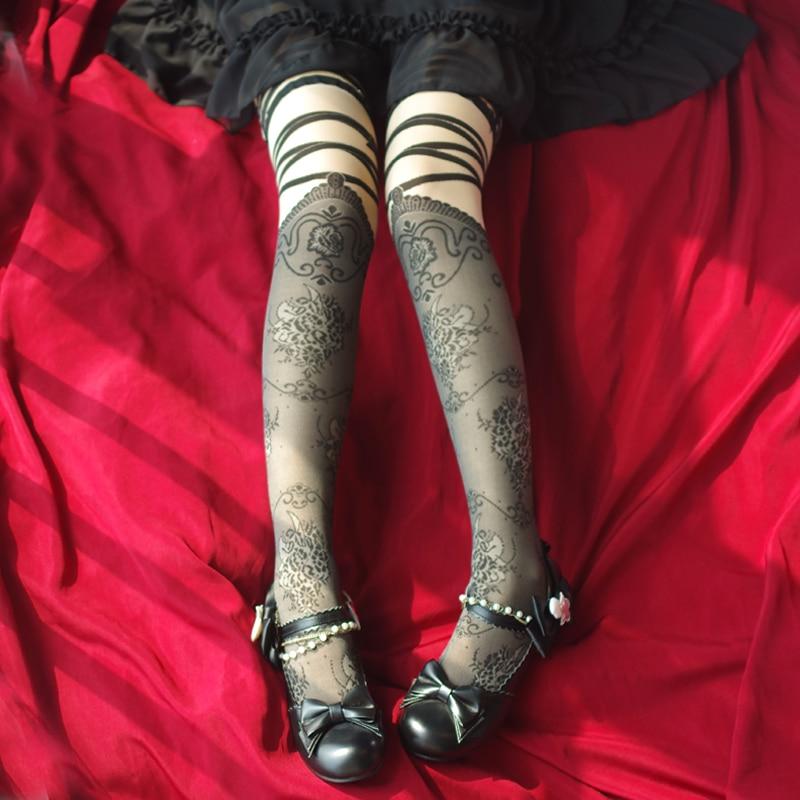 Princess Sweet Lolita Stocking Half-stockings With False Suspension Straps Jointed By Japanese Harajuku Wind Stockings WXL013