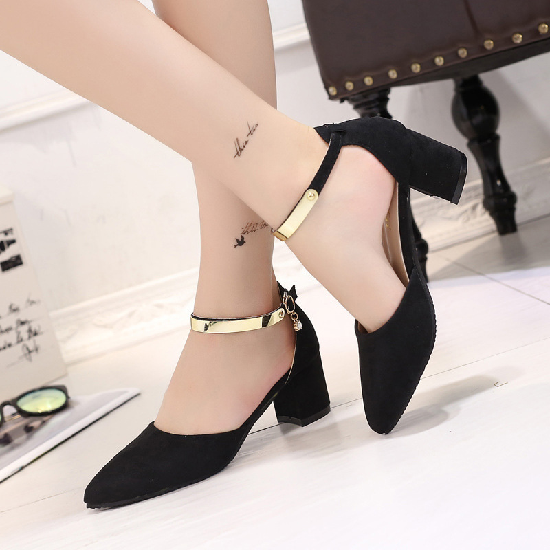 Newest Women Pumps Pointed Toe Sexy Ankle Straps Sandals High Heels Summer Ladies Bridal Suede Thick Heel Pumps Shoes Women wholesale lttl new spring summer high heels shoes stiletto heel flock pointed toe sandals fashion ankle straps women party shoes