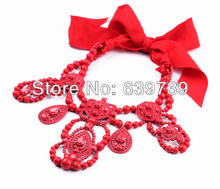 Canada Red Resin Bead Necklace(China)