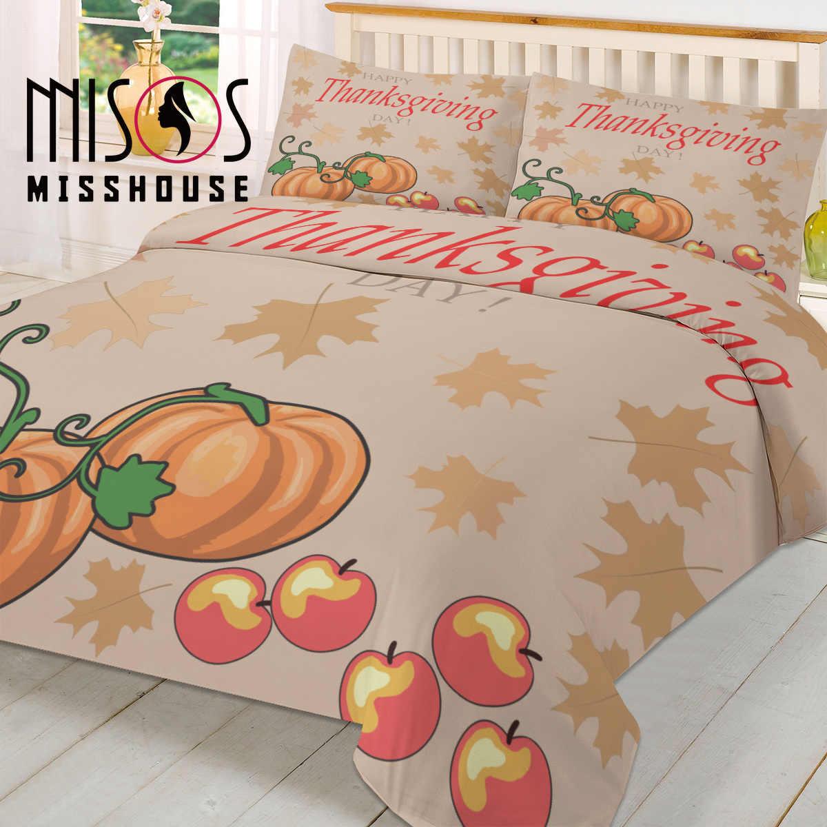 MISSHOUSE Bedding Sets Happy Thanksgiving Day Home Textile 3pcs Duvet Cover Set Comforter Cover Pillowcases