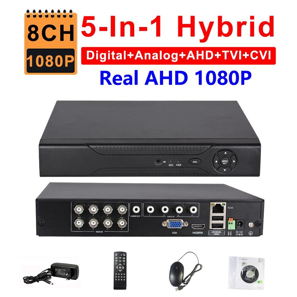CCTV 8CH AHD 1080 P DVR IP NVR TVI CVI Analogique 5-EN-1 hybride HVR Surveillance HDMI 3G WIFI ONVIF P2P Mobile Voir Motion détection
