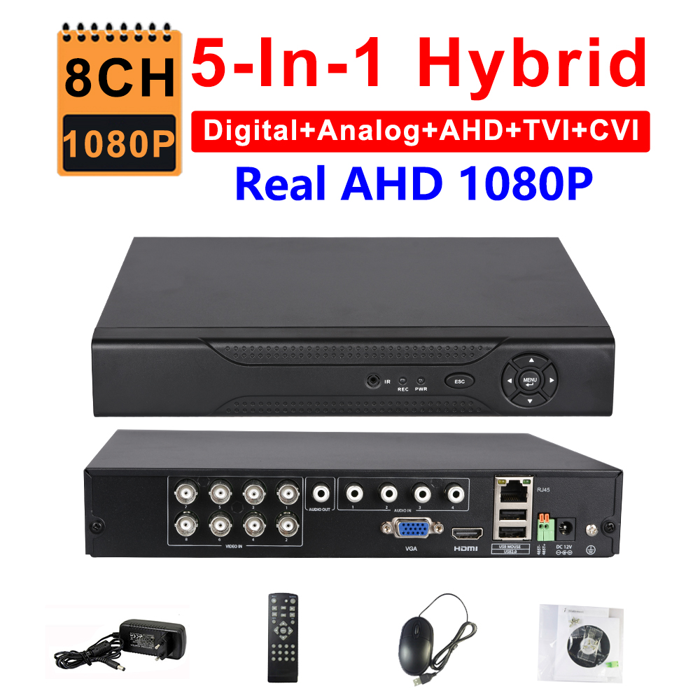 CCTV 8CH AHD 1080P DVR IP NVR TVI CVI Analog 5-IN-1 Hybrid HVR Surveillance HDMI 3G WIFI ONVIF P2P Mobile View Motion Detection new 4ch channel 1080p p2p cctv video recorder nvr ahd tvi cvi dvr 1080n 5 in 1 surveillance ahd analog onvif ip tvi cvi camera