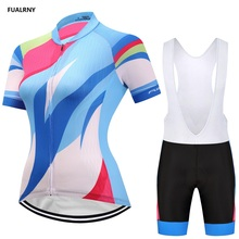 2018 FUALRNY Women Cycling Jersey Sets Bike Shirt set Breathable Bicycle Clothes Summer Cycling Clothing Quick-Dry 9D bib shorts