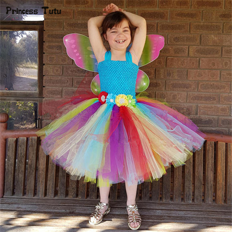 Rainbow Flower Fairy Girls Tutu Dress With Wings Princess Tulle Dress For Girl Birthday Party Dress Kids Girls Halloween Costume цена 2017