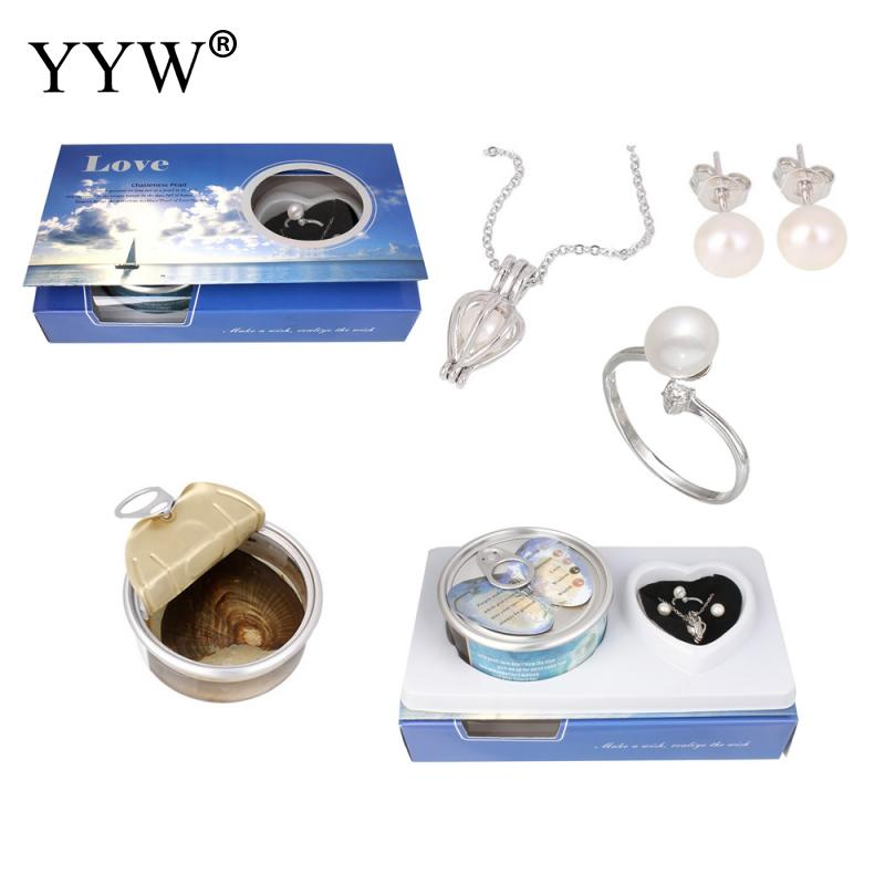 Pearl Oysters Canned-Pearl Mussel Jewelry Set Necklace & Finger Ring & Earrings For Women Girl Wedding Mysterious Gift Surprise