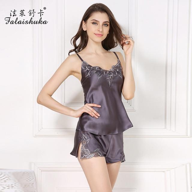 silk sleep pajamas shorts sets2019 women new brand summer fashion sexy night sleepwear woman lace print sleep&lounge plus size