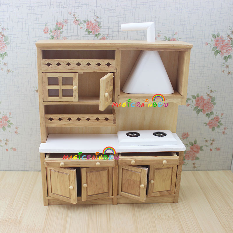 High Quality Doll House Kitchen Furniture Wooden Toys Cabinet Range Hood Sink Chiars Set  1 12 Scale Dollhouse Miniatures In Kitchen Toys From Toys U0026 Hobbies On ...