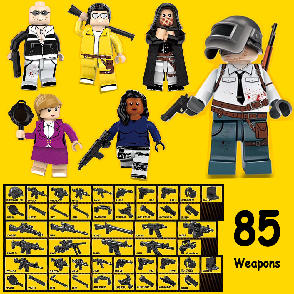 6Pcs/Lot PUBG Playerunknowns Battlegrounds Military Army Weapons Building Blocks Sets Kids Classic Model Toys Compatible Lego