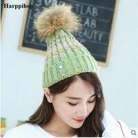 2018 wiosna Zima duża szopa włosów piłka kapelusz kobiece ciepłe wełny kapelusz Koreańscy studenci dzikiej drutach czapka pom pom Shining Rhinestone kapelusze