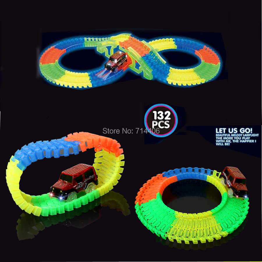 Assembly Glow racecar track Electric LED light up Racing car 132pcs set,flashing flexible tracks building blocks education toys glow race track bend flex glow in the dark assembly toy 112 160 256 300pcs slot race track 1pc led car puzzle educational toys