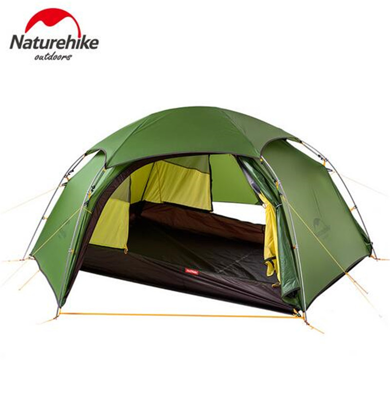 Naturehike Tent 2 Person 20D Silicone Fabric Double Layers With Waterproof Tent Roof Rainproof Camping Tent Ultralight naturehike factory sell mongar 2 camping tent double layers 2 person waterproof ultralight dome tent dhl free shipping
