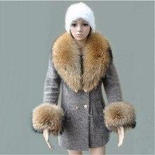 2015 real fur raccoon collar natural jacket sleeve warm coat with scarf