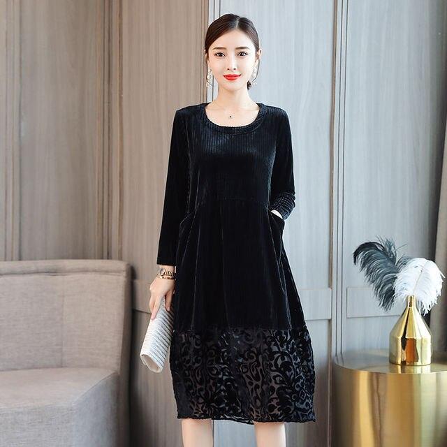 High Quality Female Autumn Winter Dress Robe Vintage Lace Velvet Dress Women Long Sleeve Casual Loose Dresses Femme Vestido 2