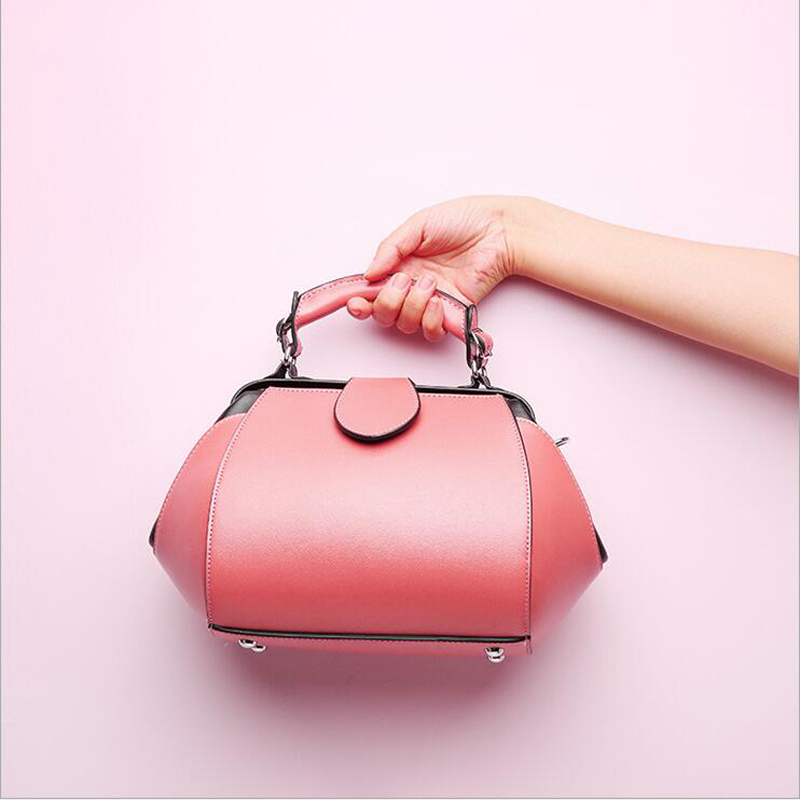 2018 Luxury 100% Real Leather Women Designer Handbags Brand Cowhide Genuine Leather Women Shoulder Pink Female Messenger Bag 146