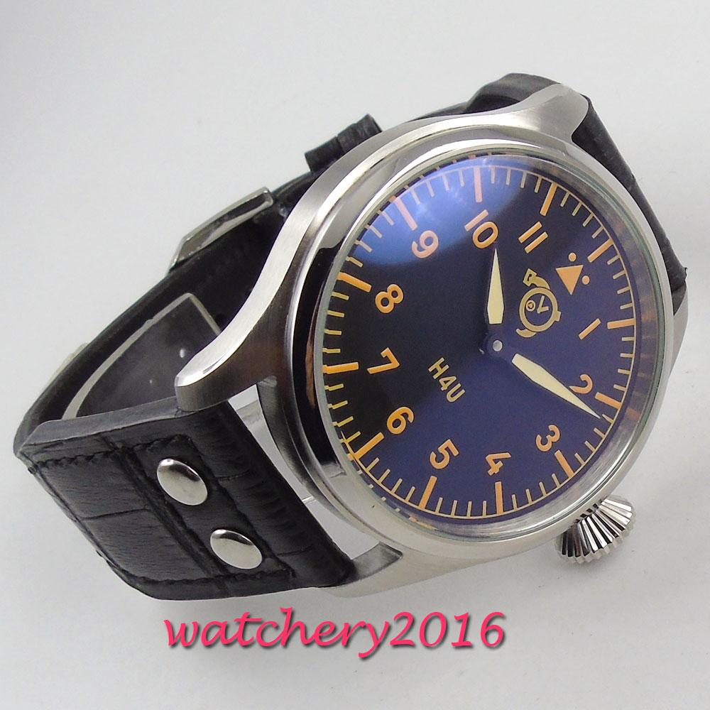 47mm corgeut cadran noir aiguilles lumineuses 6497 mouvement de remontage de la main montre pour hommes - 2