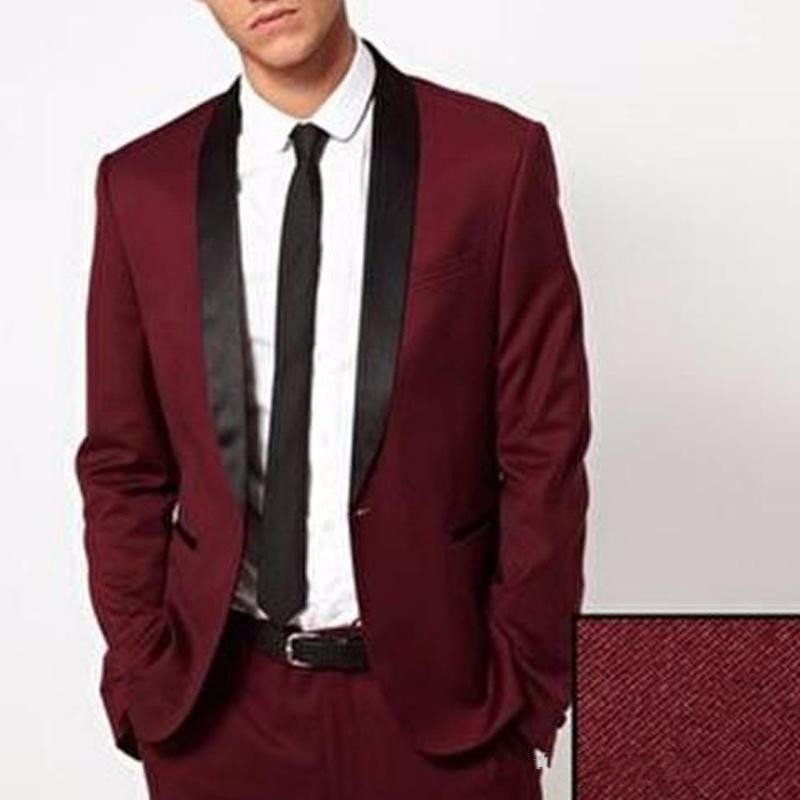 Custom Made Two Piece Burgundy Men Wedding Suits Black Shawl Lapel Blazer Groomsmen Tuxedos 2018 Cheap Men Evening Party Suit