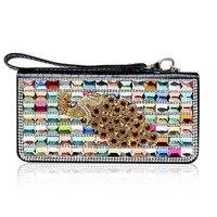 Crystal Leather Wallet Auspicious Peacock Fashion Ladies Hand Bag Leather Wallet Purse Bag Mobile Phone Bag Wholesale