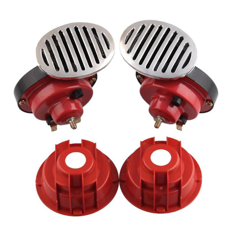 2 Pcs 12V 135 DB Super Loud Dual Air Horn Kit Trumpet Freight Train Car Truck Boat Car Styling|Steering Wheels & Horns| |  - title=