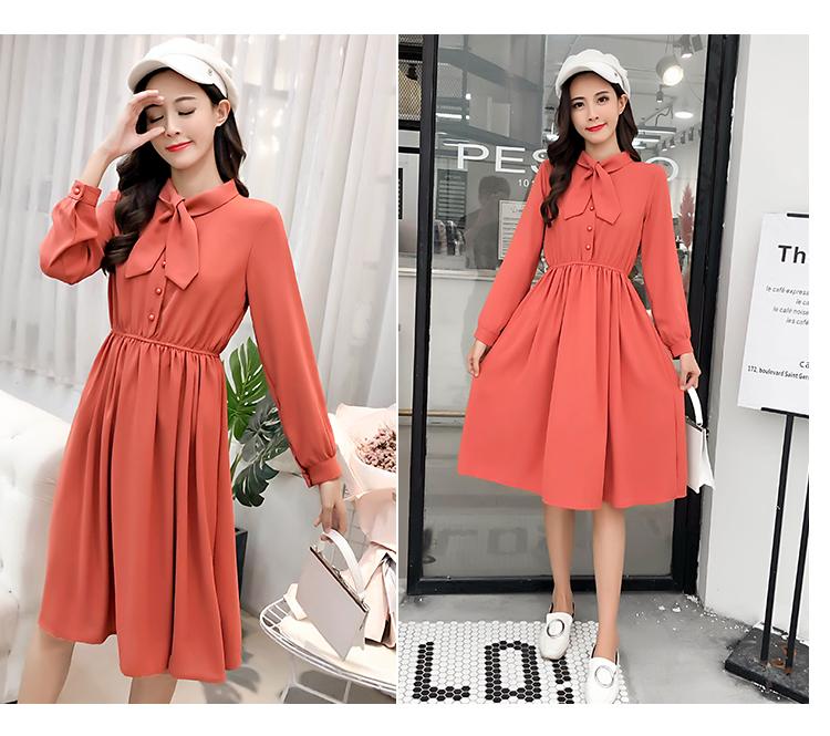 fashion bow collar women dresses party night club dress 2019 new spring long sleeve solid chiffon dress women clothing B101 24