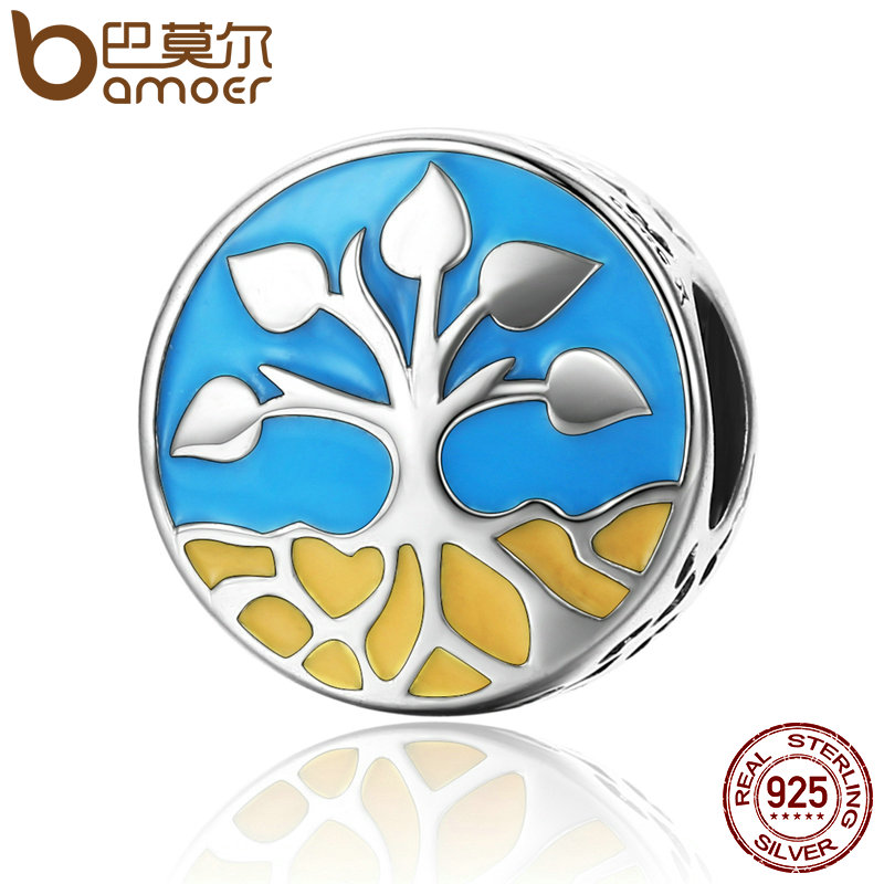 BAMOER New Collection 925 Sterling Silver Life And Growth Tree of Life Blue Enamel Charms Beads fit Bracelets Jewelry SCC170 лиф blue life blue life bl036ewaxjs5