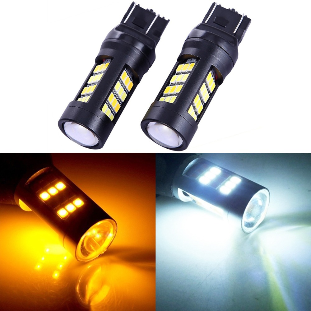 купить 2PCS T25 7443 2835 42 SMD White/Amber 12V Car Dual Color Switchback Reverse Turn Signal Light Rear Lamps Parking Lights LED Bulb онлайн