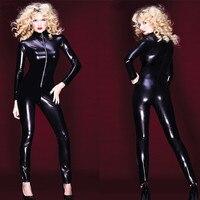 2017 New Adult Phụ Nữ Da Láng Sexy Leotard Vớ Ướt Look Mặt Trận Zipper Catsuit PVC Vinyl Latex Bodysuit DJ Clubwear khiêu vũ