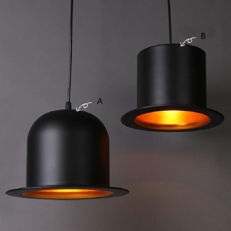 Moderne attrayant chapeau lampe pendentif lumières E27 lampe en aluminium chapeau haut-de-forme dôme cap LED restaurant boutique bar luminaire