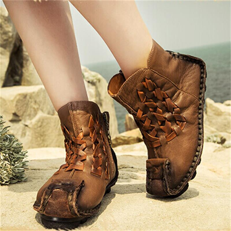 aa8e8361047fd Handmade genuine leather boots personalized unique flat ankle boots  original design first layer of cowhide knitted women boots-in Ankle Boots  from Shoes on ...