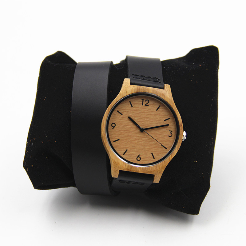 100% Natural Retro Bamboo Wooden Watch For Womens Gift With Long Genuine Leather Straps Round Janpen Quartz Movement