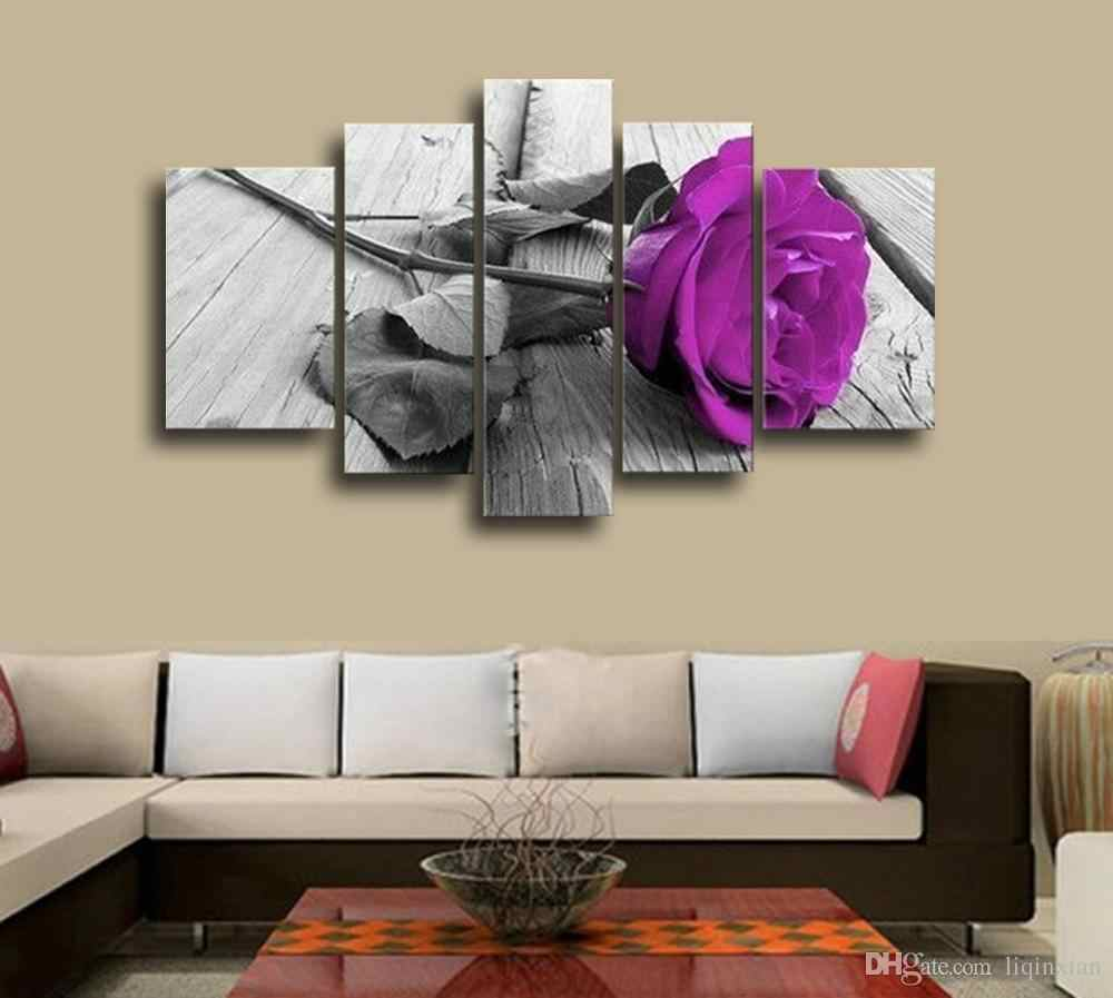 5 Pieces Combined Flower Paintings Purple Rose Modern Wall Painting Canvas Wall Art Picture Canvas Painting Framed PJMT-49
