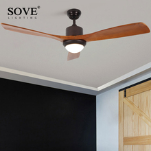 ФОТО Sove 52 Inch Village Wooden Ceiling Fan With Lights Remote Control Attic Ceiling Light Fan Bedroom Home 220v Wood Blade Fan Lamp