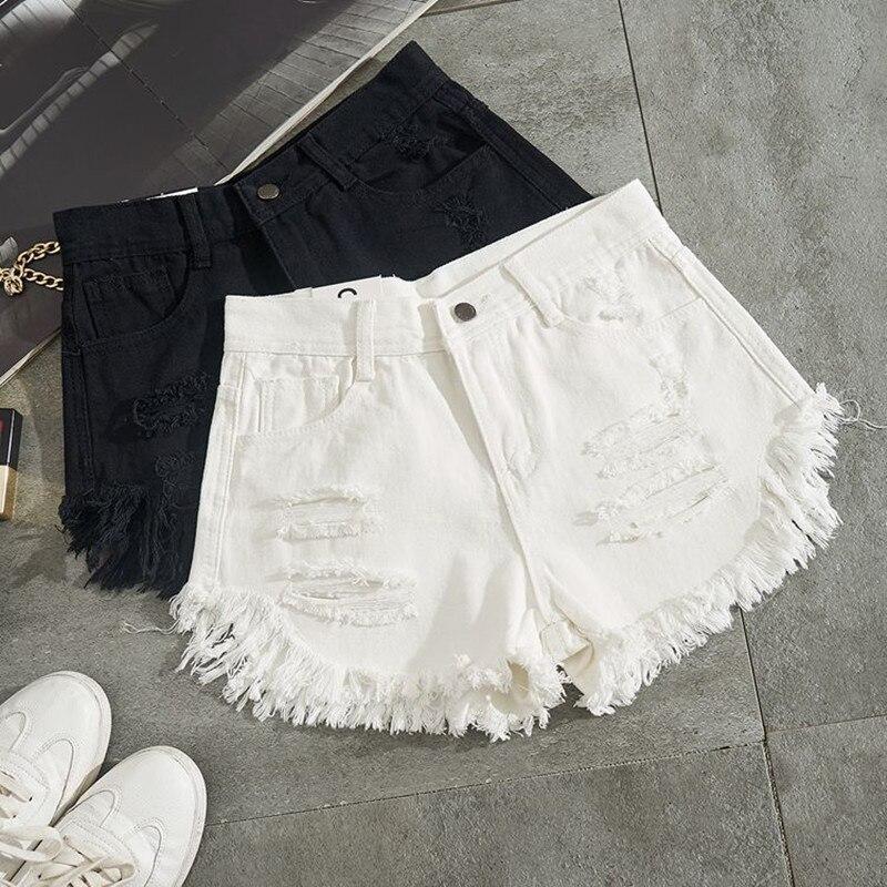 Summer Women White Denim Shorts Sexy Hole Ripped Jeans Shorts Women Streetwear Tassel High Waist Shorts