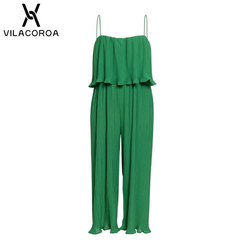 1620829d0d8e5 Big Sale] Chiffon Green Ruffle Jumpsuit For Women Sexy Sleeveless ...