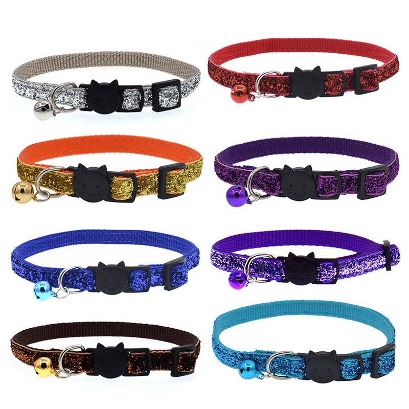Dog Collar For Cats Solid Braid Kitten Bell Collars Shiny Adjustable Collars Cat Lead Pet Collar Cat Supplies Pet Products