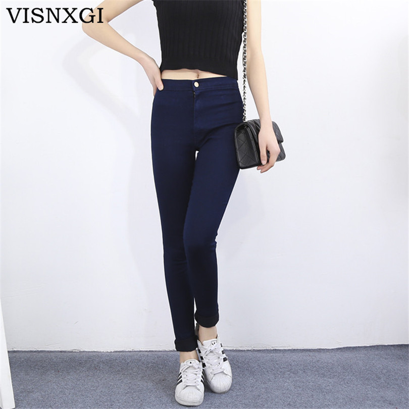 VISNXGI 2017 Fashion High Waist Women Jeans Stretch Skinny Jeans Female Calca Slim Pencil Pants Black Denim Ladies Pockets Jean