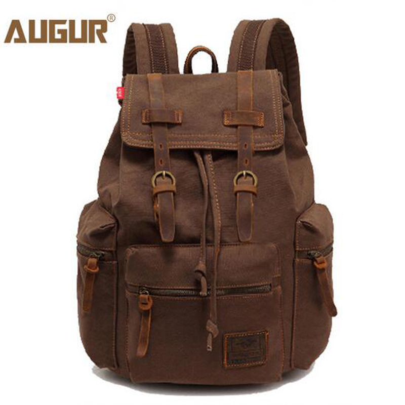 AUGUR Man's Canvas Backpack Travel Schoolbag Male Backpack Men Large Capacity Rucksack Shoulder School Bag Mochila Escola PD0212 goog yu man s canvas backpack travel schoolbag male large backpack men large capacity rucksack shoulder school bag