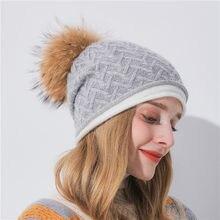 Chapéu Gorro de Malha de Inverno das mulheres Macio Real bonnet femme hiver  trançado de malha de cashmere chapéu do inverno chap. 394145a7f33
