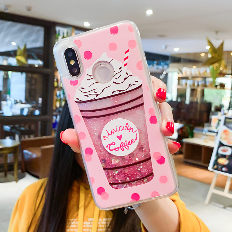 Image 5 - Liquid Quicksand Phone Case For Xiaomi Redmi Note 5 Pro 4X Mi 8 Love Heart Glitter Cover For iPhone 7 8 X XS XR XS Max 6 6S Plus-in Fitted Cases from Cellphones & Telecommunications